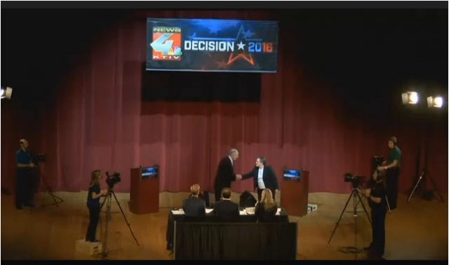 Still of the Wednesday, Oct. 19 debate between Sen. Chuck Grassley and former Lt. Gov.  Patty Judge.