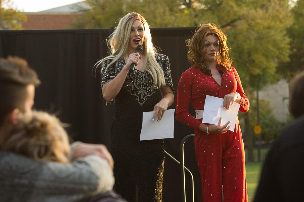 "STRUT hostesses Hunter ""Hunty Bunches"" Gillaspie and Dan ""Sugar D"" Solon at Hubbard Park. Thursday, Oct. 20, 2016.. -- photo by Zak Neumann"