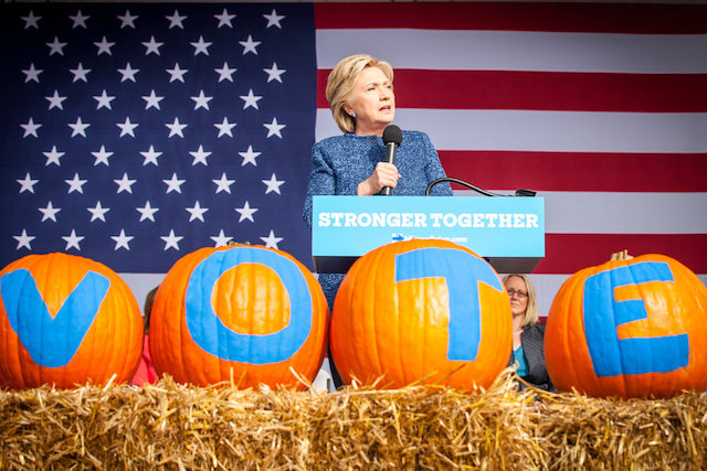 Democratic presidential candidate Hillary Clinton spoke in Cedar Rapids Friday, Oct. 28, 2016. -- photo by Danforth Johnson