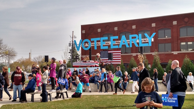 """A """"VOTE EARLY"""" sign was prominently displayed during the Hillary Clinton rally in Cedar Rapids on Oct. 28, 2016. -- photo by Lauren Shotwell"""