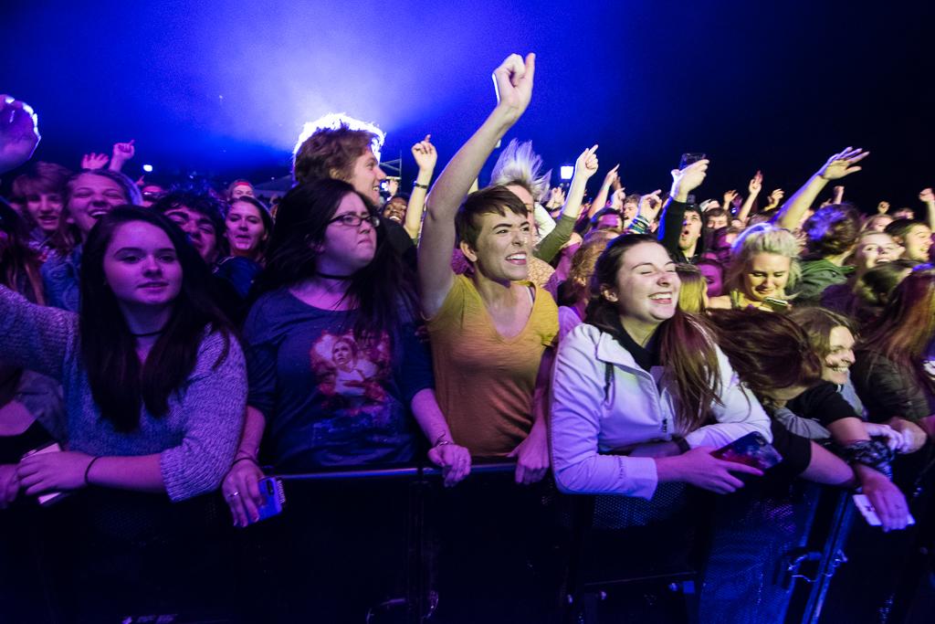 Fans cheering on Simple Plan. Source: Zak Neumann (Little Village Magazine)
