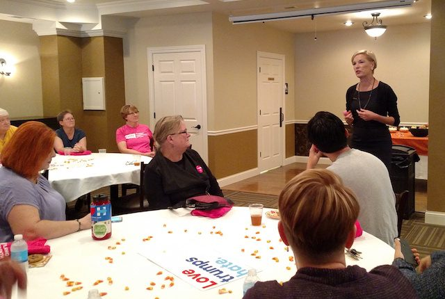 Cecile Richards, president of Planned Parenthood, speaks to a crowd at a Hillary Clinton campaign event in Iowa City on Oct 5, 2016. -- photo by Lauren Shotwell