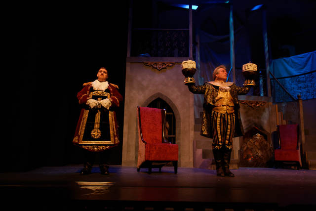 John Zbanek Hill (left) as Cogsworth; Greg Smith (right) as Lumiere -- photo by Struttmann Photo