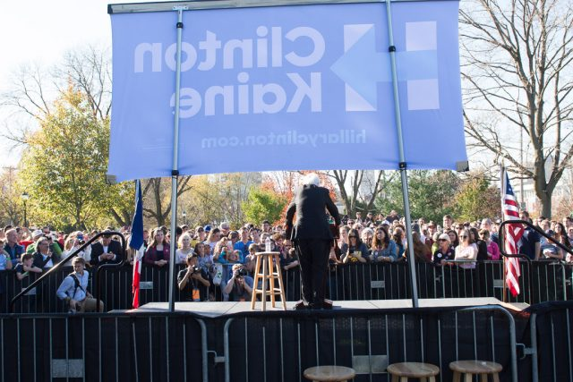Vermont Senator Bernie Sanders on stage at College Green Park in Iowa City. With only four days until Election Day, Sanders encouraged people to vote Clinton. Friday, Nov. 4, 2016. --photo by Zak Neumann.