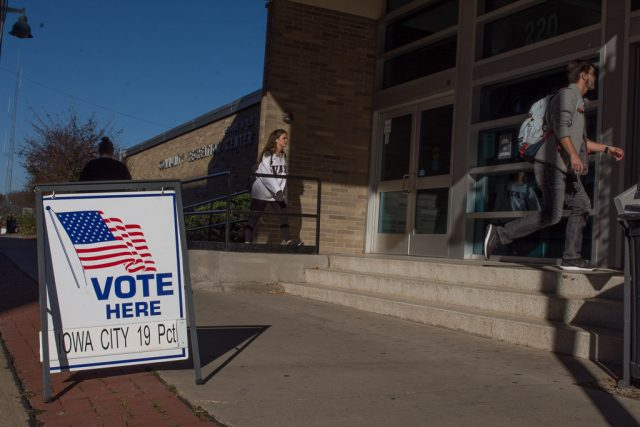 Voters head to the polls at the Robert A. Lee Recreation Center in Iowa City on Election Day, Tuesday, Nov. 8, 2016. -- photo by Zak Neumann