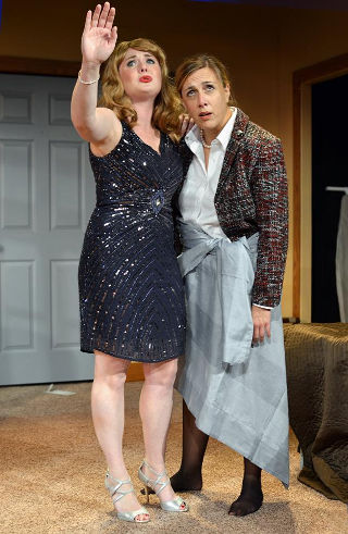 Jordan Arnold (left) and Kristy Hartsgrove Mooers imagine a better future in 'The Taming' -- photo by Riverside Theatre