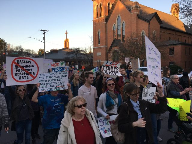 Three days after the election, protesters take to the streets following a rally on the Pentacrest. Nov. 11, 2016. --photo by Kelli Ebensberger