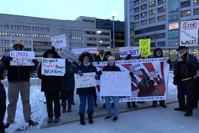 People gathered outside the UI Hospitals and Clinics, near the Children's Hospital, on Thursday, Dec. 15, 2016 to raise awareness of Silvia Williams' case. Some called on the university to take a stand. -- photo courtesy of the Center for Worker Justice of Eastern Iowa