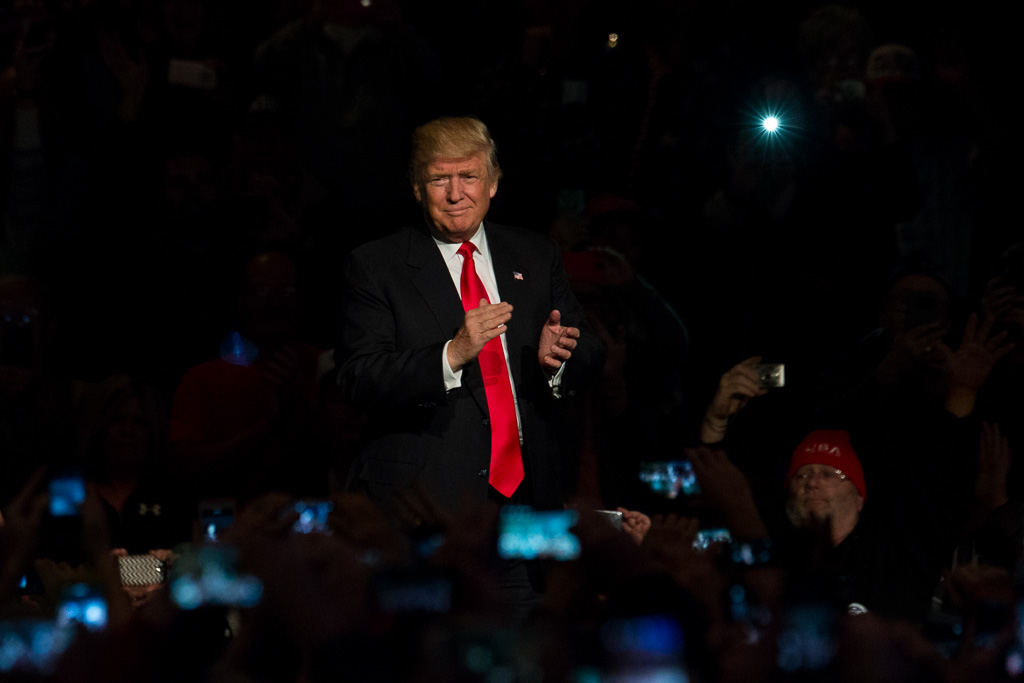President-elect Donald Trump takes the stage before a crowd of approximately 4,000 people in Des Moines on Thursday, Dec. 8, 2016. -- photo by Zak Neumann