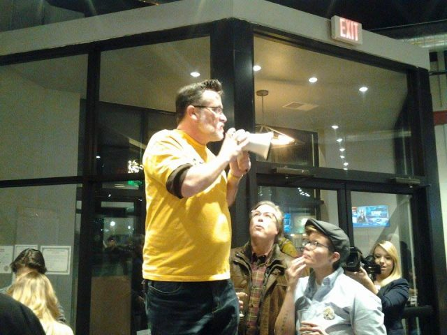 Johnson County Supervisor Kurt Friese addresses the crowd at Iowa City Brewlab on Friday, Jan. 27, 2017. -- photo by Eleanore Taft