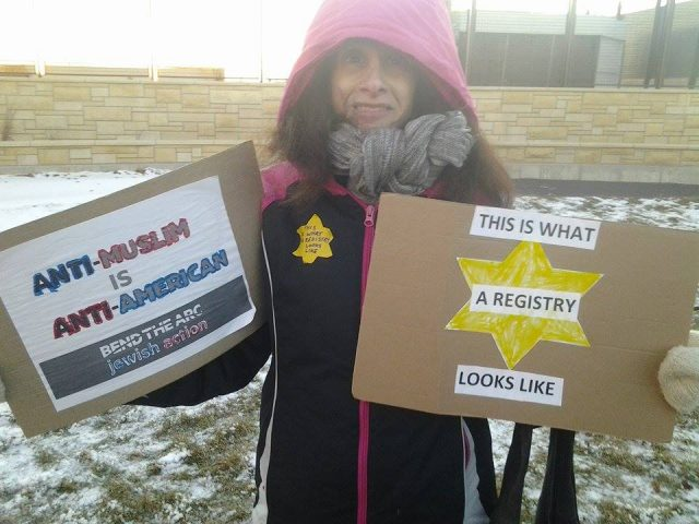 Janice Binder of Lisbon attended Sunday's protest. -- photo by Eleanore Taft