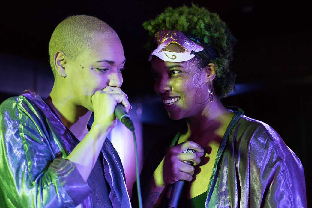 Rapperchicks' Angelenah and Psalm One on stage at The Mill. Saturday, Dec. 31, 2016. --photo by Zak Neumann.