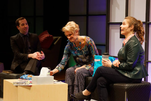 (L-R) David Schneider, Traci Rezabek and Jessica Link in Theatre Cedar Rapids' production of 'Next Fall' -- photo by Struttmann Photo