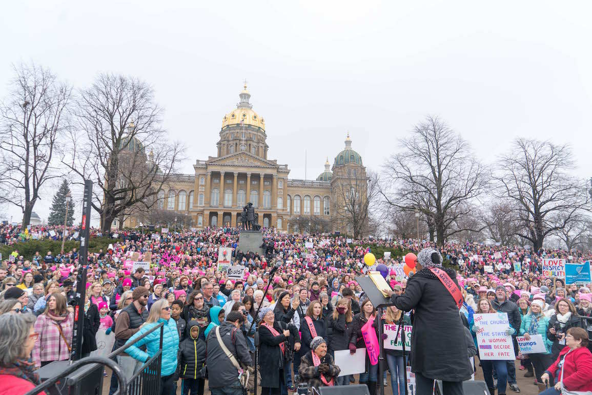 An estimated 26,000 people showed up to participate in the Des Moines Women's March on Saturday, Jan. 21, 2017. -- photo by Mei-Ling Shaw