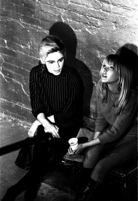 Bibbe Hansen (right) & Edie Sedgwick on the set of Andy Warhol's 1965 film, 'Prison'.  --photo by Billy Name, courtesy of the Billy Name Estate and Dagon James