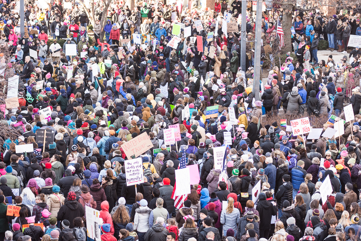A massive crowd turned up to a rally to oppose the President's immigration ban. Sunday, Feb. 5, 2017. -- photo by Zak Neumann.