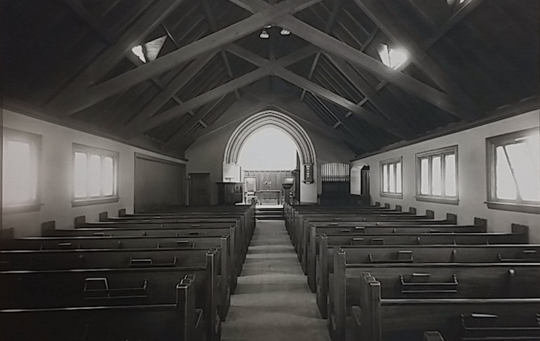 Inside of the Unitarian Universalist Society Church in 1908. -- photo via the  State Historical Society of Iowa