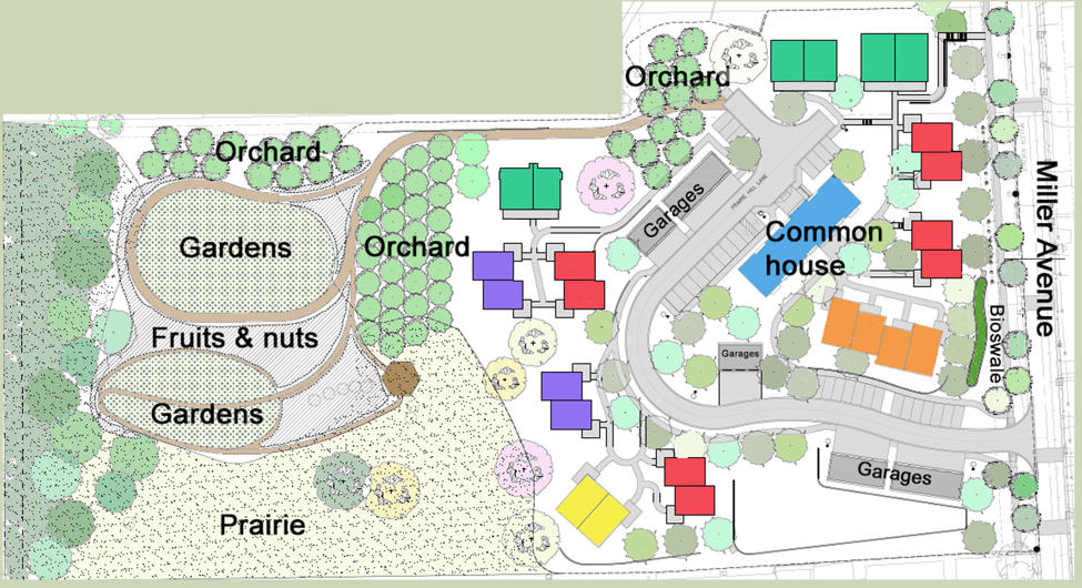Site plan for Prairie Hill, the development organized by Iowa City Cohousing. -- image via Iowa City Cohousing