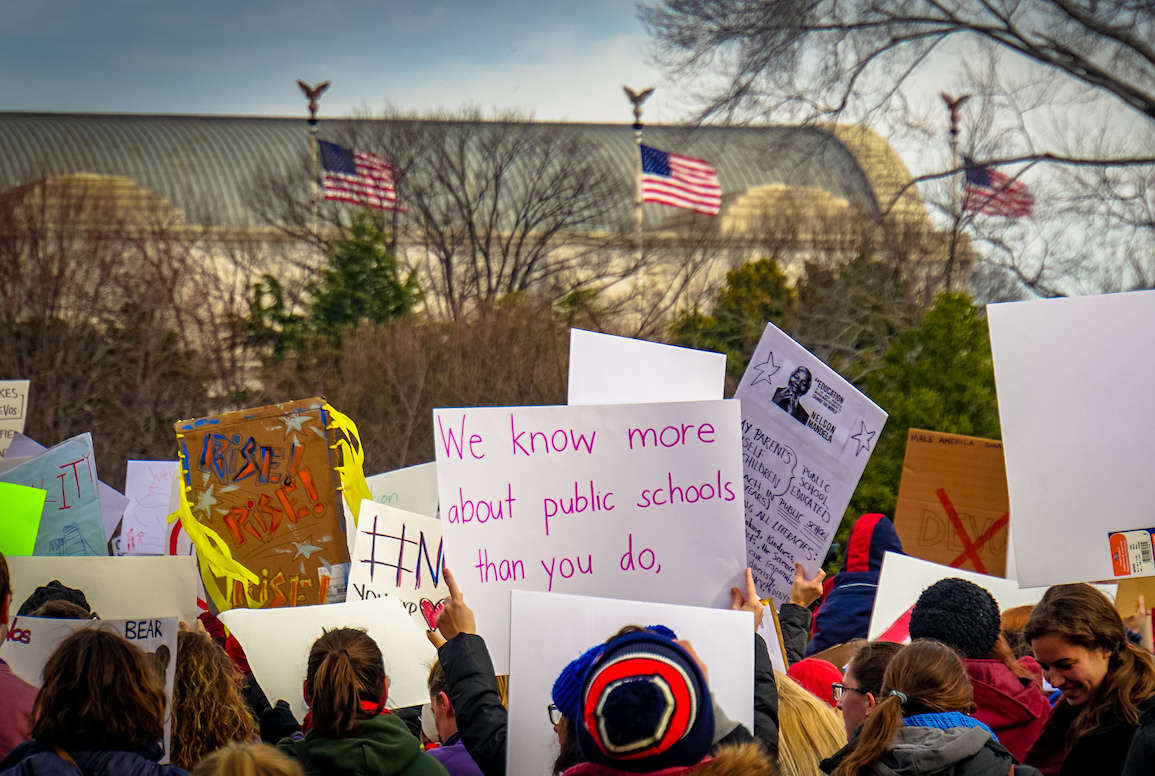 Protesters speak out in January against Betsy DeVos' nomination for Education Secretary. -- photo by Ted Eytan