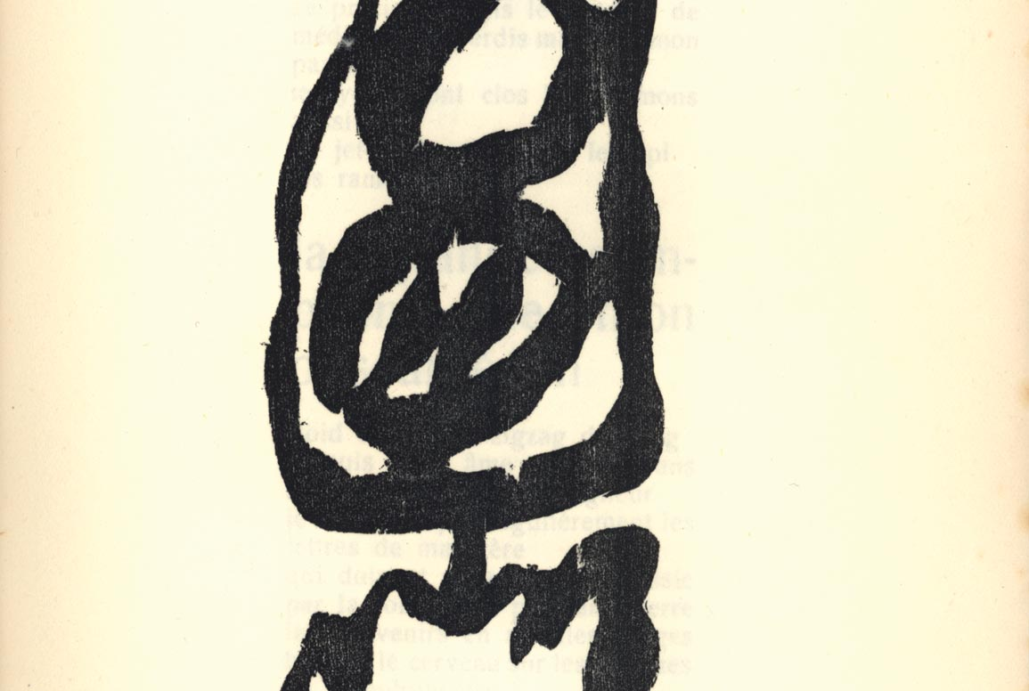 From Tristan Tzara's Vingt-Cinq Poemes. Etching by Hans Arp. From the collection of the International Dada Archive, Special Collections, University of Iowa Libraries