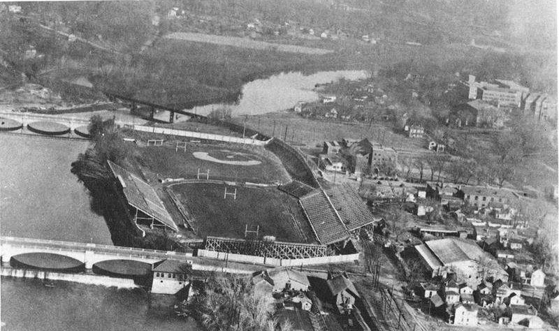 The Old Iowa Stadium located between Burlington Street and Iowa Avenue on the Iowa River.