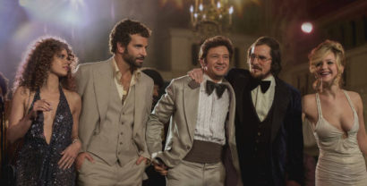 Amy Adams, Bradley Cooper, Jeremy Renner, Christian Bale and Jennifer Lawrence in American Hustle.