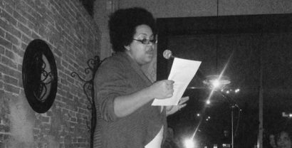 Kendra Malone reads at the Clinton Street Social Club