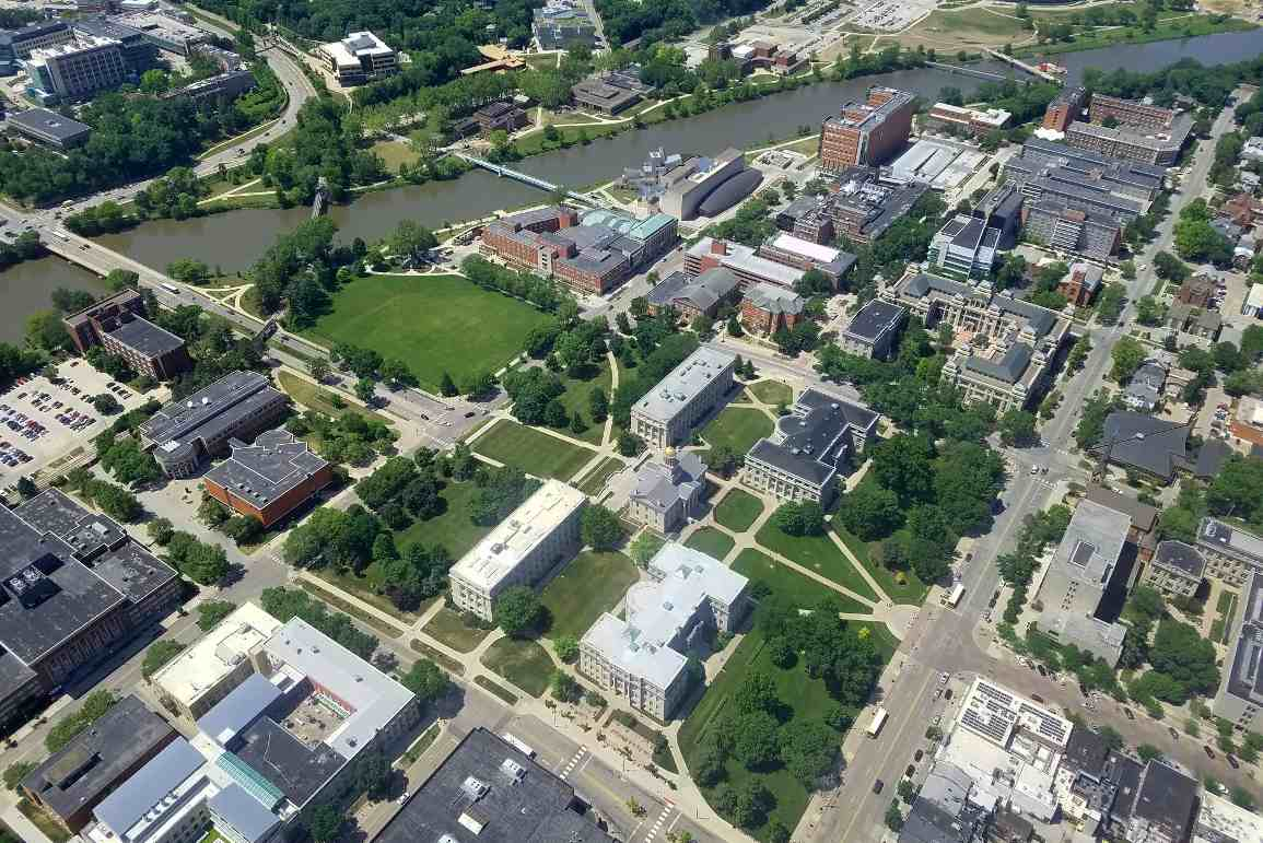 IowaCity University downtown aerial.